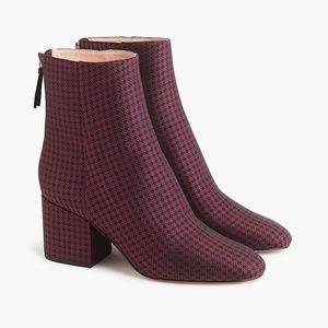 J. Crew Sadie ankle boots in silk tie print